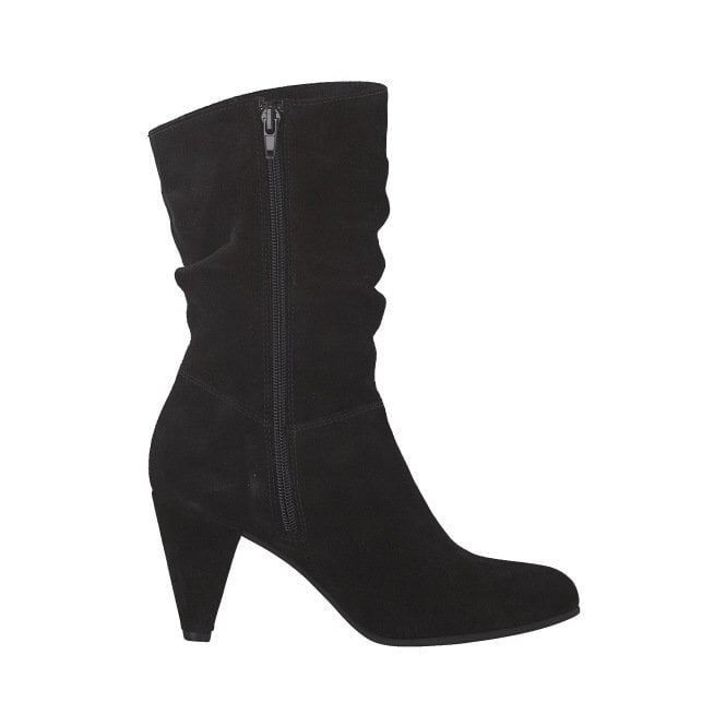 Smart boot Tamaris 25034 in black suede with rouched effect 016ad5ec1d0a