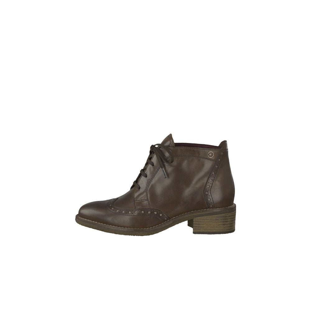 Tamaris 25107 in brown, lace up ankle boot with low heel 2d7834b40c96