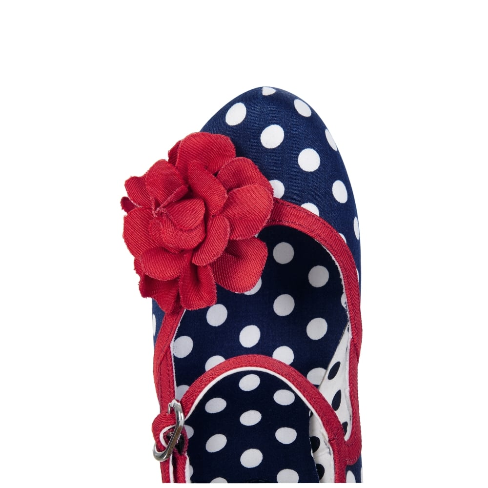 2dacf025de Ruby Shoo Hannah in Polka dot with bold red corsage