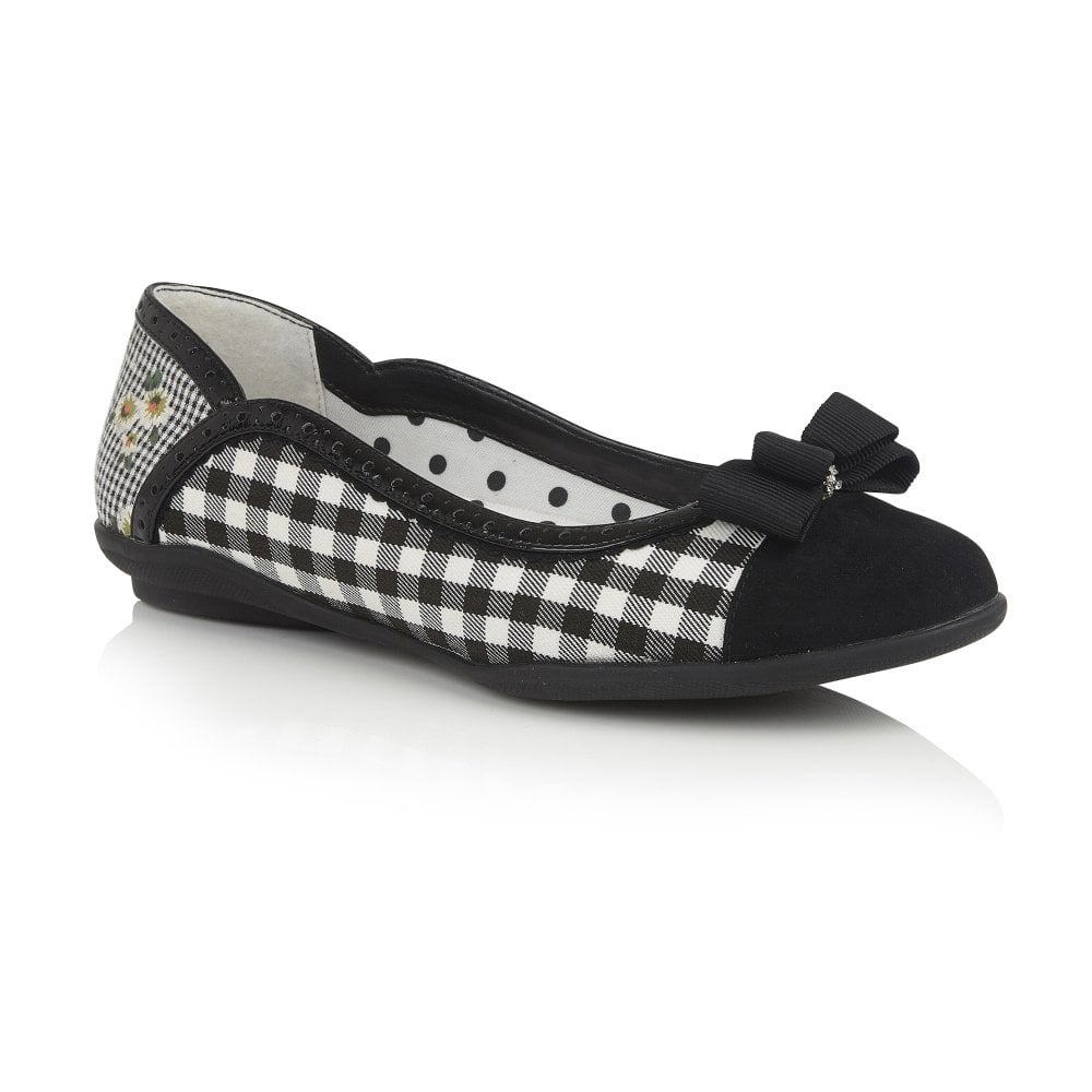 f0468076 Lizzie by Ruby shoo , textile upper ballet pump with gingham check