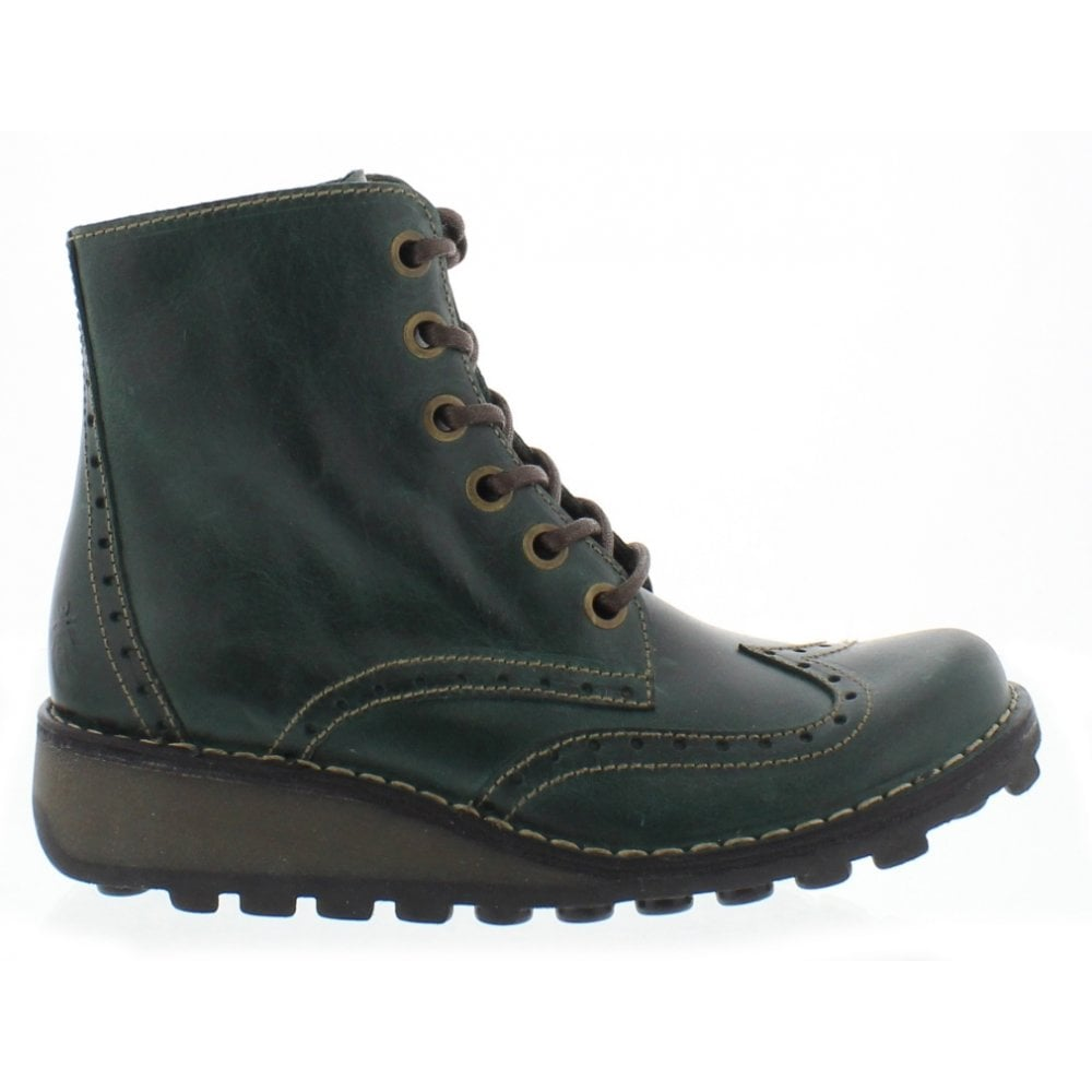Petrol colour Leather, casual ankle boot