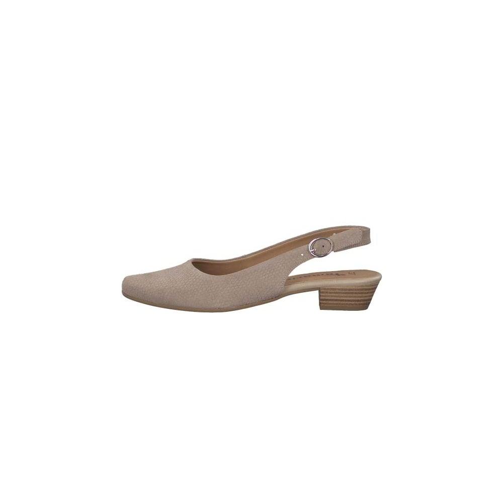 6d5eb2cbdf91 Tamaris 29400 Taupe for SS18, Low heel, sling back shoe