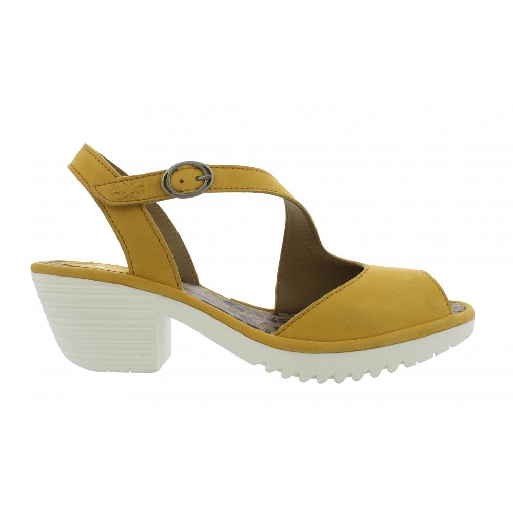 57dad60ba8d On trend Yellow sandal Fly Wyno with peep toe and diagonal strap